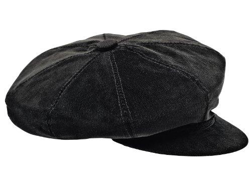 Sterkowski hommes de 8 quartiers velours côtelé Newsboy Cap, Noir, 58 cm L