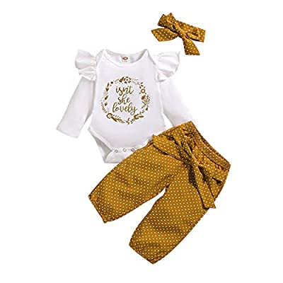 Baby Newborn Girl Clothes Ruffle Isnt She Lovely Outfit Tops Pants with Headband Fall 6 Month Baby Girl Clothes 0-3 Months White by
