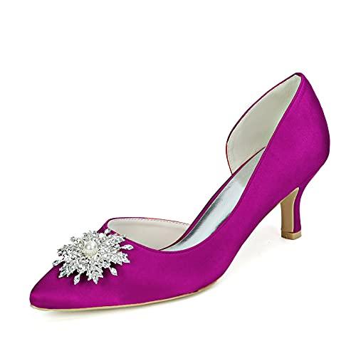 Mujer Satén Zapatos De Boda Tacón Medio D'orsay Punta Cerrada Zapatos De...
