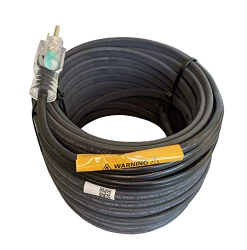 WARMBRIDGE INC RoofMate Self-Regulating Heating Cable for Roof & Gutter De-Icing, 120V, 7Watts/Ft. (75-Feet + 10-ft Cold Lead)