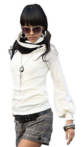 Mississhop Slmn Japan Style Damen Bluse Longshirt mit Rollkragen Tunika Pullover Weiß-Schw. XL