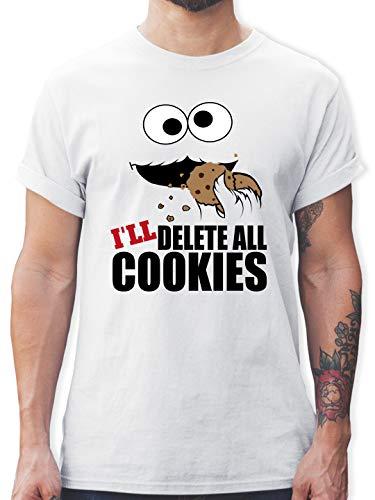 Nerds & Geeks - I Will Delete All Cookies Keks-Monster - XXL - Weiß - Rundhals - L190 - Tshirt Herren und Männer T-Shirts