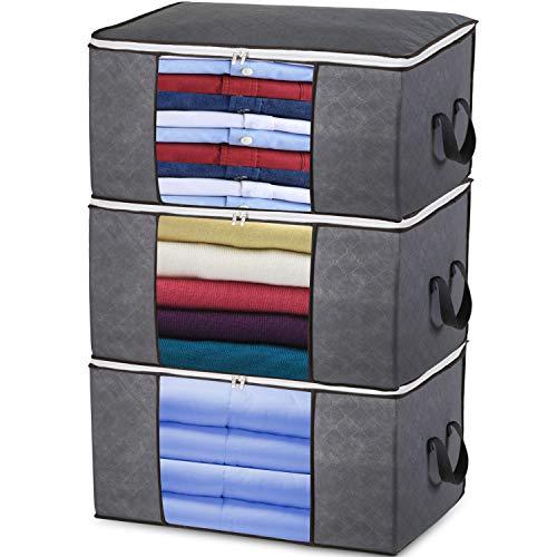 prettop Aufbewahrungstasche Kleideraufbewahrung Faltbare Groß Unterbett Aufbewahrungsbeutel mit Reißverschluss für Bettdecken, Kleidung, Bettzeug, Decken, Kissen, Steppdecken, gartenauflagen, 3 Stück
