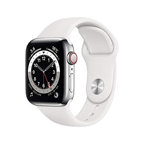 最新 Apple Watch Series 6(GPS + Cellularモデル)- 40mmシルバーステンレススチールケースとホワイトスポーツバンド