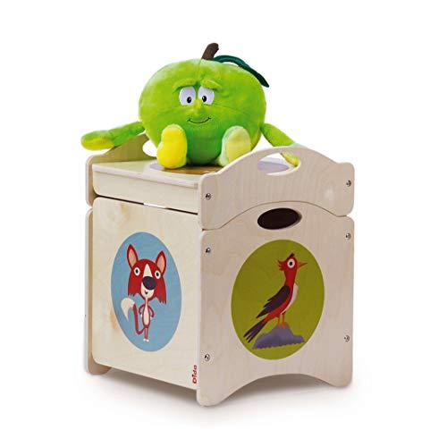 """Dida -Pouf Coffre à Jouets Enfant en Bois - """"Troncotti"""" Cube de Base avec 4 Roues + Couvercle - décorations: Renards, des Pivert, Taupe"""