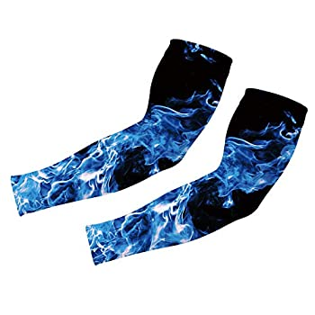 Uideazone Blue Smoke Printed Sunscreen Sleeves Cover Hand Arm Elbow Protective Gear Basketball Baseball Football Sport 1 Pair Arm Sleeve for Men Women