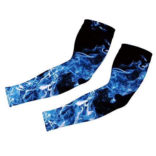 uideazone Blue Smoke Sports Compression Arm Sleeve Camo Cooling Stretch UV Protector Gloves Running Golf Cycling Driving 1 Pair Long Tattoo Cover Arm