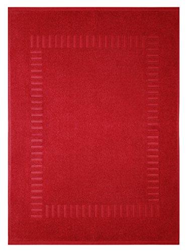 Lashuma Badezimmermatte Rot - Chili, Schnelltrocknende Badmatte, Pure 50 x 70 cm