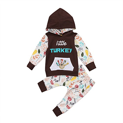 Newborn Baby Boy Girl Floral Long Sleeve Hoodie Tops Pants Clothes Set(12-18 months, brown)