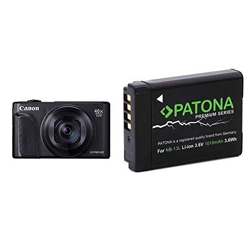Canon PowerShot SX740 HS Digitalkamera (20,3 MP, 40-Fach optischer Zoom, 7,5cm (3 Zoll) Display) schwarz & Patona, Premium-Akku für Canon NB-13L, Canon Powershot G7X, G5X, G9X, G7X Mark II