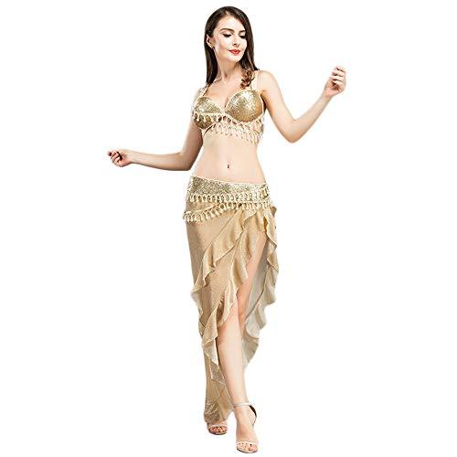 ROYAL SMEELA Set di Costumi di Danza del Ventre,Tuta da Cintura con Reggiseno Vestiti da Ballo delle Donne Performance Reggiseno e Set di Cintura e Gonna