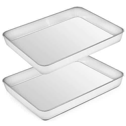 Rectangular Baking Pan Lasagna Pan Set of 2, Deedro 16 Inch Rectangular Cake Pan Stainless Steel Brownie Pan, Deep Baking Pans for Toaster Oven, Healthy & Durable, Brushed Finish & Dishwasher Safe