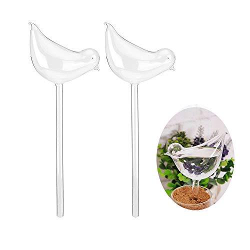 Set di 2 pezzi per irrigazione automatica delle piante, soffiato a mano, trasparente, con bulbi acquatici per irrigazione, in vetro, per interni, esterni, giardino, patio, fiori (uccello)