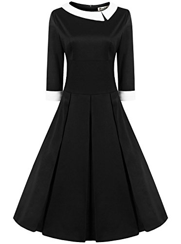 ReoRia Women's 50s 60s Style Rockabilly Pinup 3/4 Sleeve Wear to Work Elegant Swing Vintage Dress Navy Blue 3X-Large