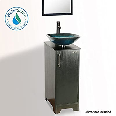 Okeysen 13'' Bathroom Vanity and Sink Combo, Black Vanity for Small Space, Turquoise Square Sink Artistic Tempered Glass Vessel, 1.5 GPM Water Save Faucet & Solid Brass Pop Up Drain. (A04B08)