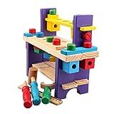 Maissine Etabli Enfant Bricolage - Boîte à Outils Jouet en Bois - Etabli avec Outils Ensemble Intellectuel pour Enfants 2+ Ans