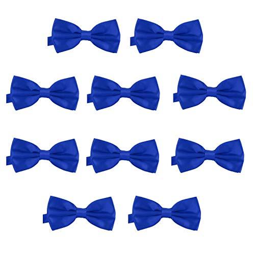 DonDon 10er Set Herren Fliege 12 x 6 cm gebunden und längenverstellbar blau