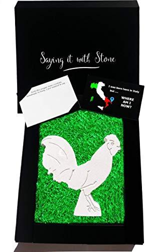 Coq fait à la main en Italie - Symbole de bonne chance, de prospérité, de richesse, d'honnêteté, de courage et de fierté - Coffret cadeau et carte de message inclus - Idée porte-bonheur