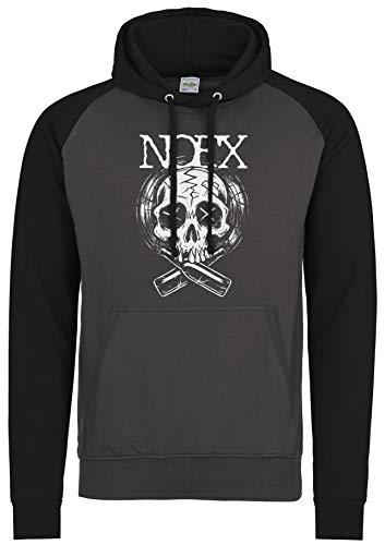 LaMAGLIERIA Unisex- Baseball Hoodie NOFX Skull Nfs01 - Kapuzenpullover Punk Rock, L, Charcoal/Jet Black