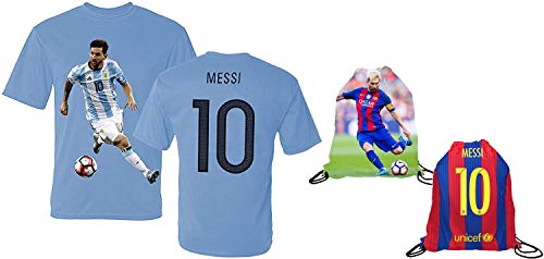 Messi Jersey Style T-shirt Kids Argentina Lionel Messi Jersey T-shirt Gift Set Youth Sizes  Premium Quality   Soccer Backpack Gift Packaging (YL 10-13 Years Old, Messi)