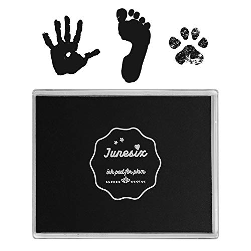 Ink Pad, 5x4'' Washable Non-Toxic Ink Stamp Pad for Baby Footprint Handprint, Black