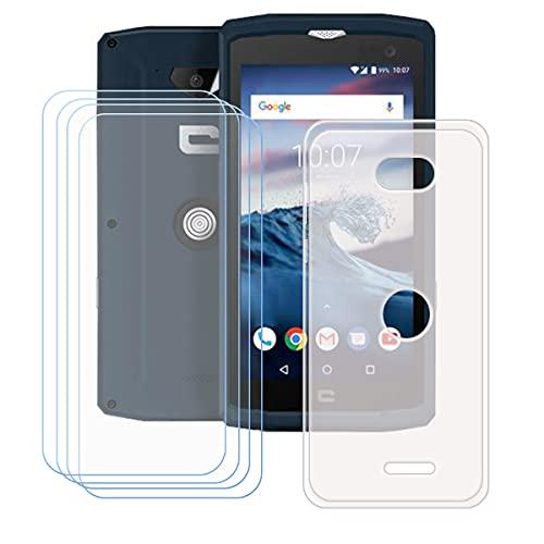 YZKJSZ Hülle für Crosscall Core-X3 + [4 Stück] Panzerglas Gehärtetes Glas Schutzfolie,Flexibel Semi-Trasparent Weiche Hülle Silikon Schutzhülle TPU Tasche Cover für Crosscall Core-X3 (5.0