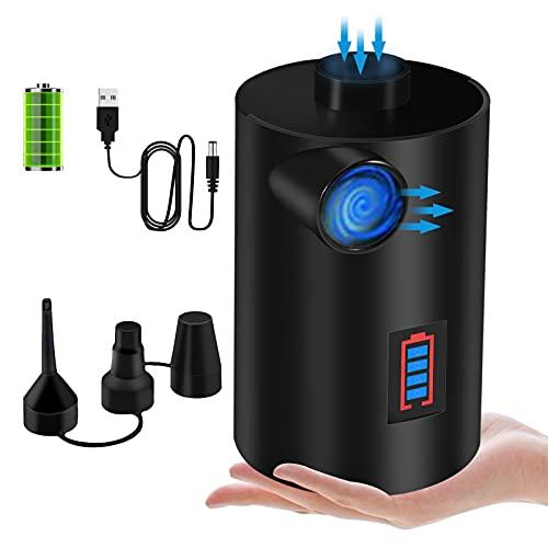 KNMY Bomba De Aire Eléctrica con Pantalla Digital, 2-in-1 Inflador / Deflactor Electrico USB Bateria Recargable, Inflador Colchon Hinchable para Piscinas, Barcos, Juguete Inflado, 3 Boquillas