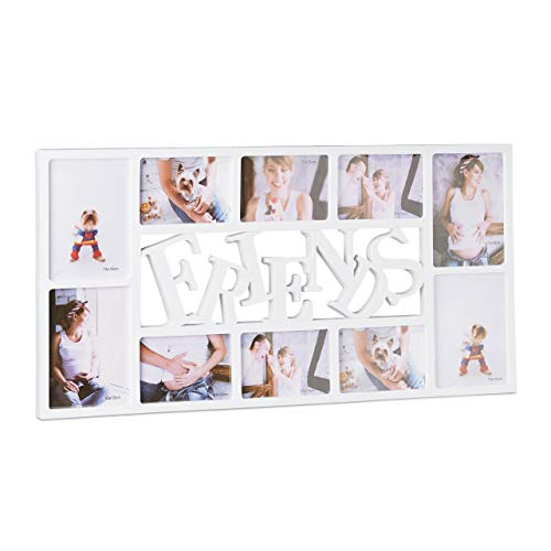 Relaxdays Bilderrahmen für 10 Fotos, Fotocollage Freunde, 13x18 & 10x15, zum Aufhängen, HxBxT: 36,5 x 72 x 2 cm, weiß