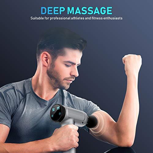 41wuXWcPZfL - Pistola de Masaje Muscular, Masajeador Profesional de Músculos de Tejido Profundo Silenciosos con 30 Niveles Ajustable, 6 Cabezas de Masaje, Pantalla LCD, para Relajar los Músculos y Aliviar el Dolor