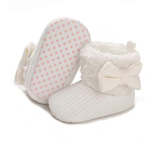 ENERCAKE Baby Girls Boys Booties Non-Slip Warm Snow Boots Infant Winter Shoes Newborn Toddler Prewalker Crib Shoes (G-White, 6_Months)