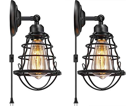 Industrial Plug in Wall Light E26 Base Edison Wire Cage Style Vintage Wall Lights with 5.9Ft Adjustable Plug in Cord Rustic Wall Sconce Fixture for Headboard Bedroom Porch Bathroom 2 Pack
