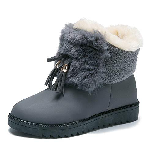 KKCD-slipper Dames Korte Winter Boot, Grote Maat Warm Boot Bont Gevoerde Enkellaarsje Outdoor Schoenen met Zachte Zool