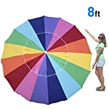EasyGo 8 Foot Heavy Duty HIGH Wind Beach Umbrella - Giant 8' Beach Umbrella with Sand Anchor & Carrying Bag -Sturdy Pole and Thicker Fiberglass Ribs for High Wind Resistance