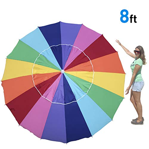 EasyGo 7 Foot Rainbow Beach Umbrella Kids - Portable Wind Beach Umbrella Large – Folding Beach Umbrella Set with Screw Anchor and Carrying Bag