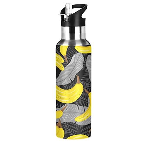 MNSRUU Botella de agua aislada para niñas y niños, plátanos amarillos botella de agua de acero inoxidable con pajita, 20 onzas