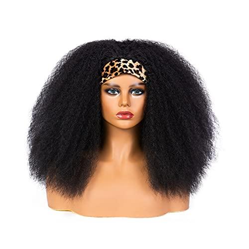 Pelucas de diadema para mujeres negras Pelucas de bufanda, banda rizada cortante de banda negra Pelucas negras con diadema adjunta wig wig wig semhigs para mujeres negras rizado peluca natural peluca