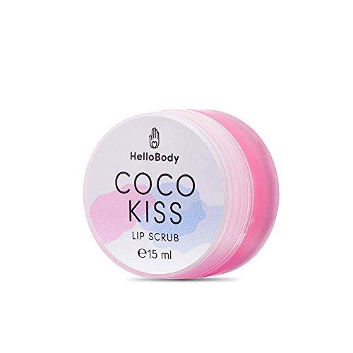 HelloBody Coco Kiss Scrub per le labbra (15 ml) – Balsamo per labbra – Cura delle labbra naturale con cera d'api, olio di cocco e burro di karitè
