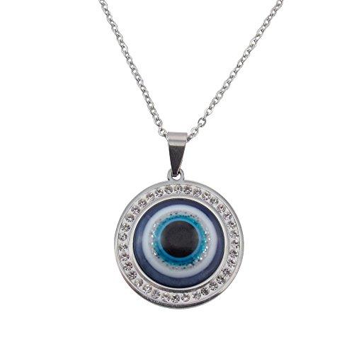 flevado Arabisch Blaues Auge an einer Edelstahlkugelkette mit Strass Nazar-Perle (türkisch nazar boncuu)