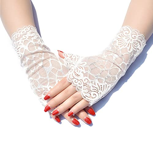 IAMZHL Lady's Fingerless Black Floral Lace Gloves Summer Thin UV-Proof Driving Gloves Gothic Sexy Short Hollow Party Gloves - white