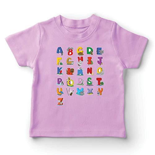 lepni.me Kinder Jungen/Mädchen T-Shirt Das Alphabet, ABC Lied, Geschenke für Kinder (7-8 Years Pink Mehrfarben)