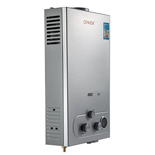 Cueffer LPG Calentador de Agua Calentador de Agua de Gas Licuado 36KW Calentador de Agua Automatico LCD Digital Calentador de Agua Instantaneo Propane Gas Hot Water Heater (12L)