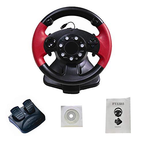 Seasaleshop Gaming-stuur + pedalen computerspel stuurwiel simulatie racing simulatie rijschool auto voor PS 3 / PS 2 / PC, Zonder stang