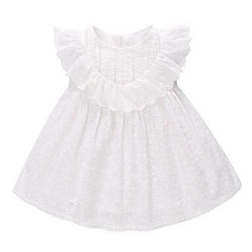 Bébé Filles D'été Blanc Dentelle Princesse Robe Enfants Coton Brodé Élégant À Manches Courtes Tutu Jupes pour Daily Party Wear(90)