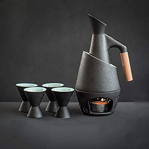 Warm Wijn Japanse Hot Pot Thuis Warm Fles Antieke Glas Wijn Fles Gele Wijn Wit
