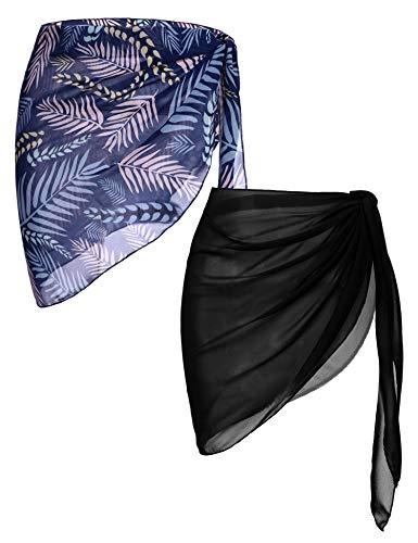 Ekouaer 2 PC Women's Beach Short Sarongs Swimsuit Sexy Cover Up Pareo Bikini Beachwear Sheer Warp Bathing Suit Small