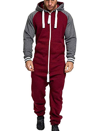 Kewing Caliente Polar Cremallera Frontal con Capucha Zip Up Mono Playsuit Homewear Hombre Pijamas