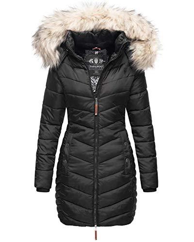 Navahoo Premium Damen Winterjacke Steppjacke Jacke lang Stepp warm Teddyfell B821 [B821-Nimal-Schwarz-Gr.L]