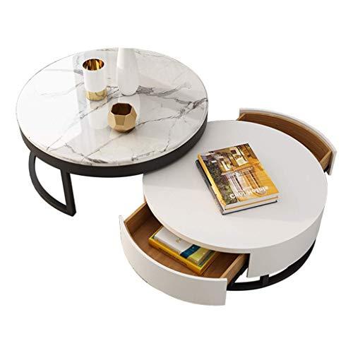 Okrągły stolik kawowy, blat marmurowy 18 mm, projekt złącza kompensacyjnego 360 stopni;Obrót, pojemność podwójnej szuflady 80 razy; 80 razy; 43 CM + 70 razy; 70 razy; 34 CM
