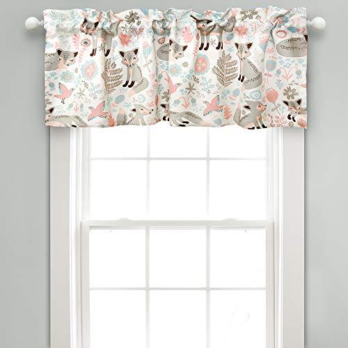 "Lush Decor Pixie Fox Room Darkening Window Valance, 18"" x 52"" + 2"" Header, Gray Curtain Valence, Pink & Gray"