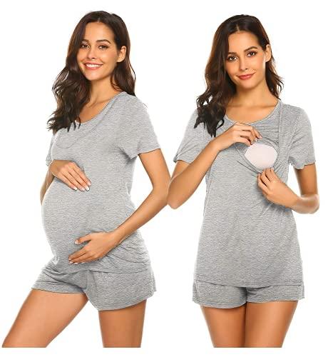 Unibelle Pijama de lactancia materna, camiseta y pantalón corto, verano, A_gris, S